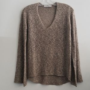 Zara Knit V-Neck Brown & Black Sweater Size S